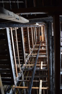 A view up the elevator shaft in a rickhouse